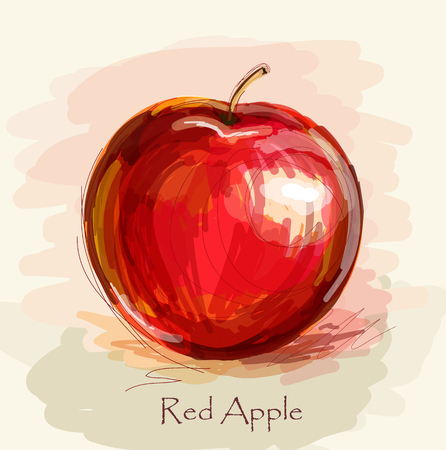 organic background: Vector sketch of red apple in watercolor technique Illustration