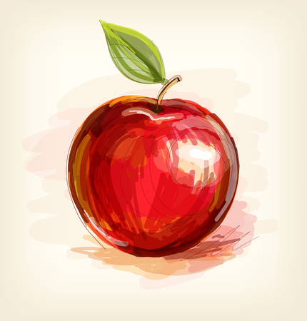 Vector sketch of red apple in watercolor technique Vectores