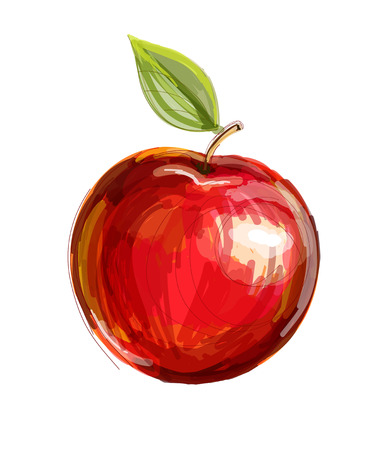 Vector sketch of red apple in watercolor technique