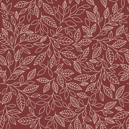 victorian christmas: seamless pattern of stylized leaves on color on a light background