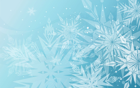 Beautiful blue winter background with snowflakes
