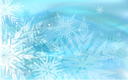 december: Beautiful blue winter background with snowflakes