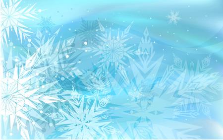 diciembre: Fondo de invierno azul hermoso con copos de nieve  Vectores