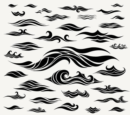 Vector waves set of elements for design, black silhouettes against a light background