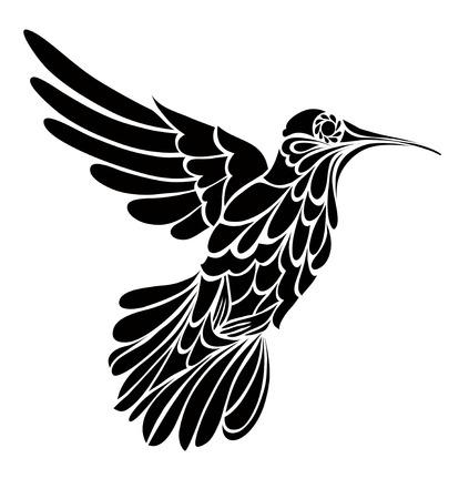 pajaros: silueta de colibrí, dibujo gráfico vectorial estilizada