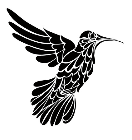Humming-bird silhouette, stylized vector graphic drawing