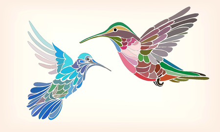 Two hummingbirds in stylized vector illustration on a light background