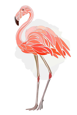 pink flamingo: Graphic, stylized drawing of flamingos on a light background