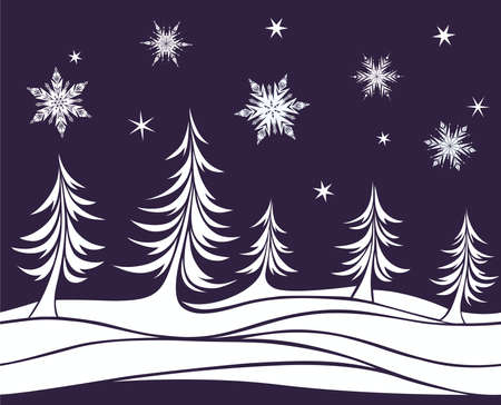 firtrees: Seamless element Christmas background with fir-trees and snowflakes Illustration