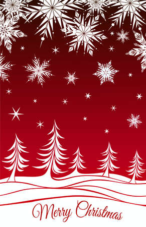 firtrees: Red Christmas background with fir-trees and snowflakes