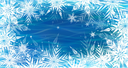 blizzard: Beautiful vector background with white snowflakes, Happy New Year.