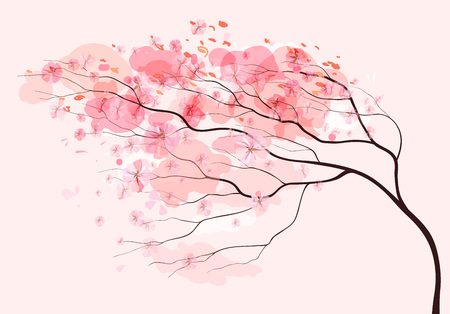 Sakura branch, spring beautiful floral pink background Illustration