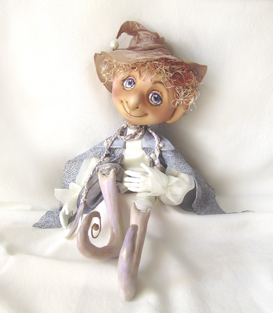 jointed: Jointed doll fairy elf sitting in a relaxed pose - hand made