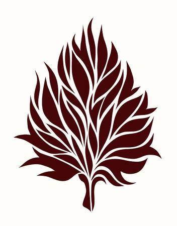 dessin fleur: feuille d'arbre stylisé sur un fond clair dans un style graphique