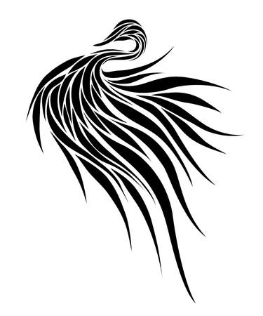 oiseau dessin: oiseau stylisé dans un style graphique, monochrome
