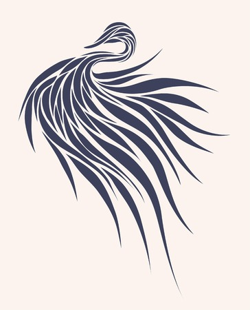 feathered: Stylized bird in a graphic style, monochrome