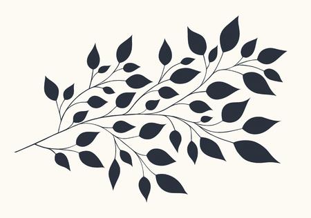 branche: illustration isolée de branches stylisées avec un feuillage sur un fond clair
