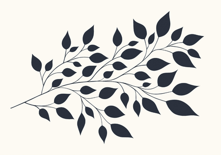 Isolated illustration of stylized branches with foliage on a light background