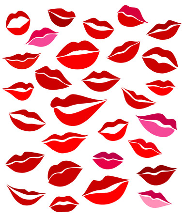 girl mouth: Big set of stylized graphics lips red shades on a light background