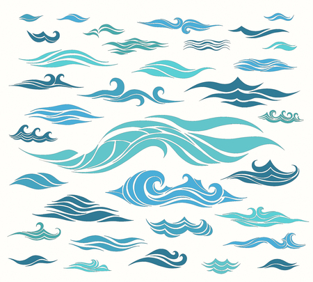 storm tide: waves set of elements for design, blue silhouettes against a light background