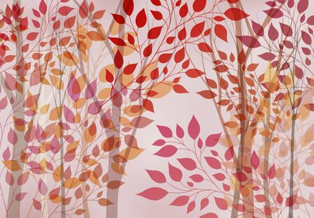autumn leaves background: Abstract autumn background with trees and leaves Illustration