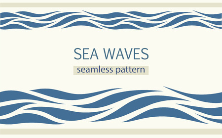 Seamless patterns with stylized sea waves vintage style.