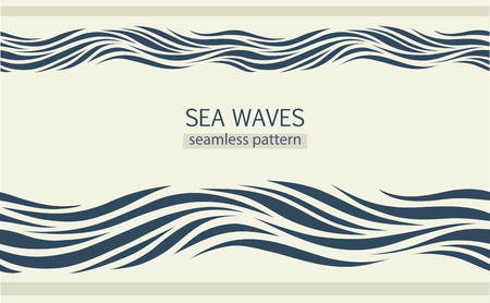 Seamless patterns with stylized waves vintage style Ilustrace