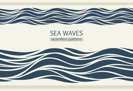 spume: Seamless patterns with stylized waves vintage style Illustration