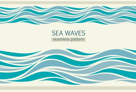 Seamless patterns with stylized waves vintage style Ilustração