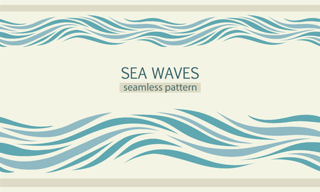 Seamless patterns with stylized sea waves vintage style Vettoriali