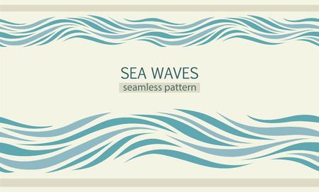 Seamless patterns avec stylisées vagues de la mer de style vintage