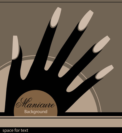 nails: The stylized hand with a manicure, monochrome graphics
