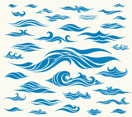 Vector waves set of elements for design, blue silhouettes against a light background