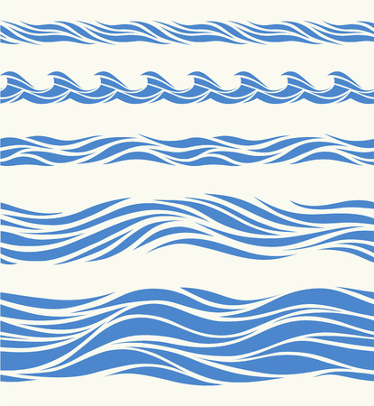 moving in: Set of seamless patterns with stylized waves vintage style