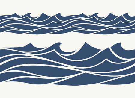 Seamless patterns with stylized blue waves vintage style Vettoriali