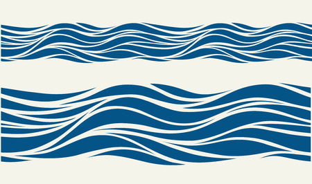 Seamless pattern with stylized blue waves in vintage style Banco de Imagens - 66438314