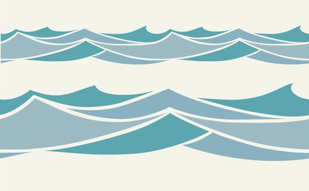 Seamless pattern with stylized blue waves in vintage style