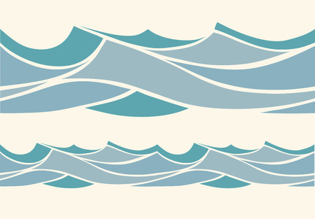 waves ocean: Seamless pattern with stylized blue waves in vintage style