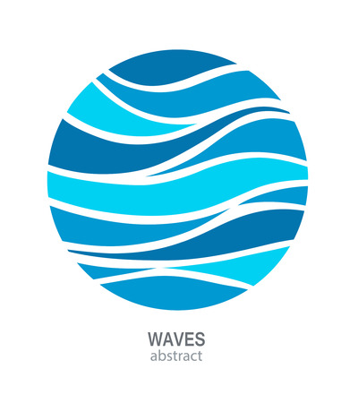 Water Wave Logo abstract ontwerp. Cosmetica Surf Sport Logotype concept. Ronde aqua pictogram.