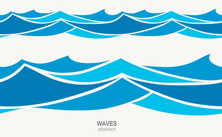 Marine seamless pattern with stylized blue waves on a light back