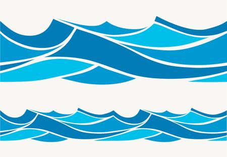 olas de mar: Modelo inconsútil de la marina con olas azules estilizados en una luz de fondo