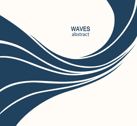 curve: Water Wave Logo abstract design. Cosmetics Surf Sport Logotype concept. Square aqua icon.