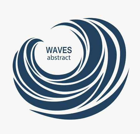 abstract swirl: Water Wave Logo abstract design. Cosmetics Surf Sport Logotype c Stock Photo