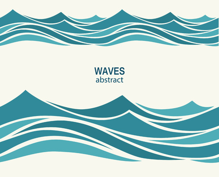 water slide: Marine seamless pattern with stylized blue waves on a light back