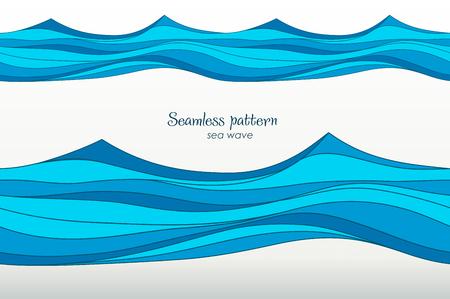 sea wave: Marine pattern with stylized blue waves on a light background