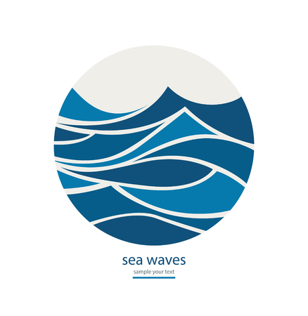 Abstract background with round frame of waves.Water Wave Logo design. Cosmetics Surf Sport Logotype concept.