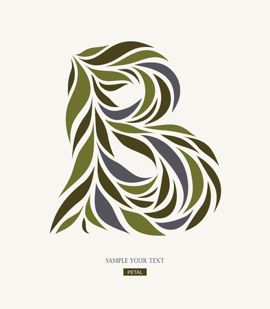 Logo design from petals, leaves, abstract letter B.