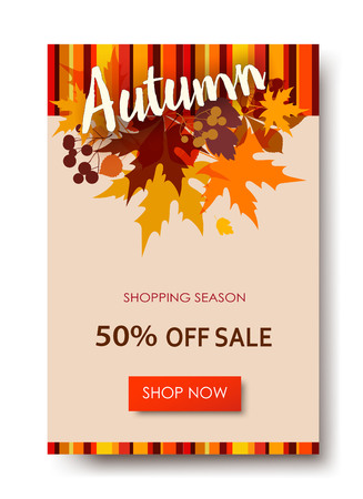 Autumn sale text banners for September shopping promo or 50 autumnal shop discount. Ilustração