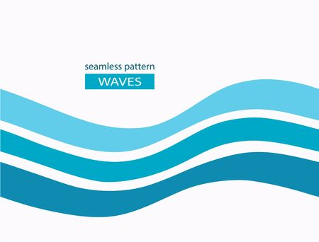 Marine seamless pattern with stylized blue waves on a light background. Water Wave abstract design. Cosmetics Surf Sport Logotype concept. Square aqua icon. Imagens