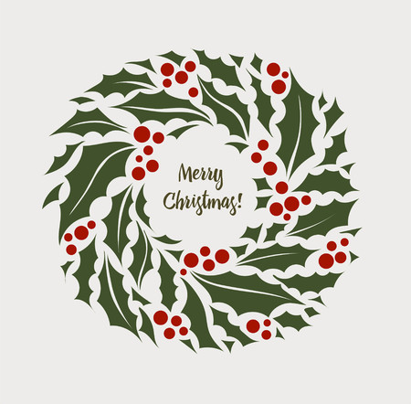 Christmas wreath of holly with red berries illustration.